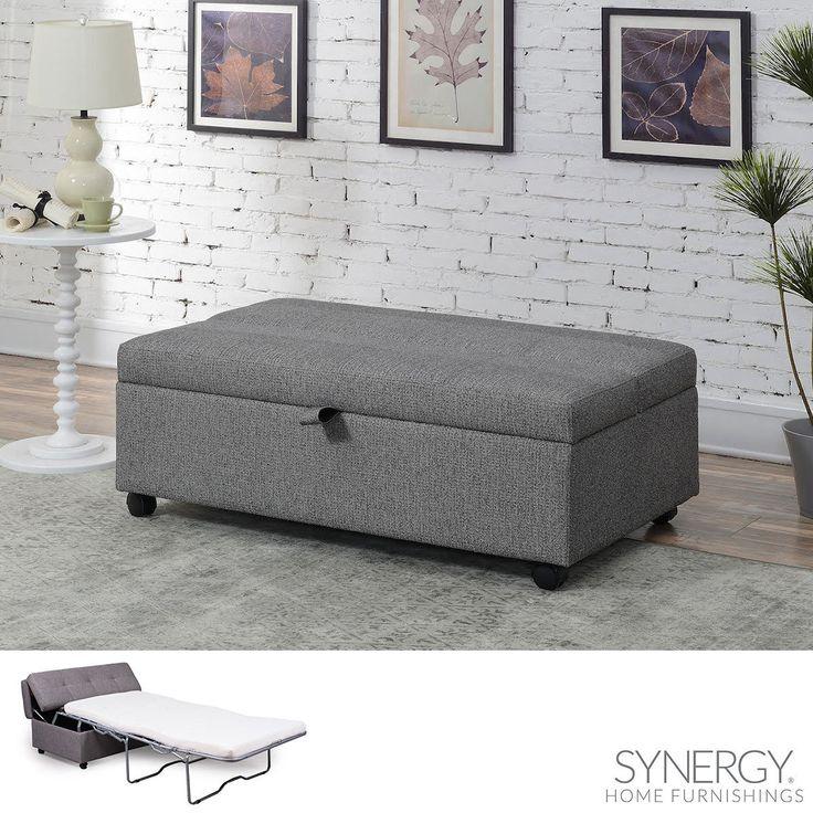 Synergy Home Furnishings Grey Fabric Sleeper Ottoman