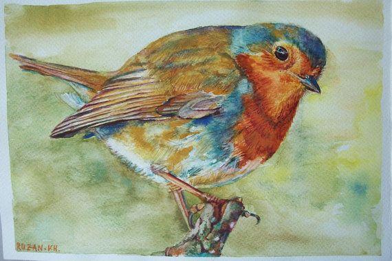 Uccello pettirosso acquerello su carta ruvida 300 di Stellangelo