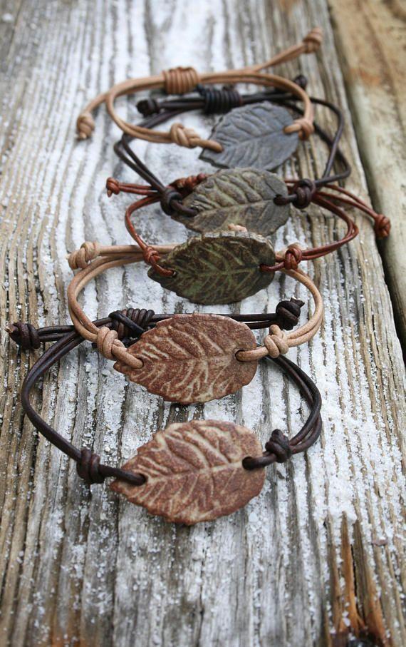 Leaf Armband, verstellbares Leder, handgemachter Schmuck, rustikales Blatt, Boho...