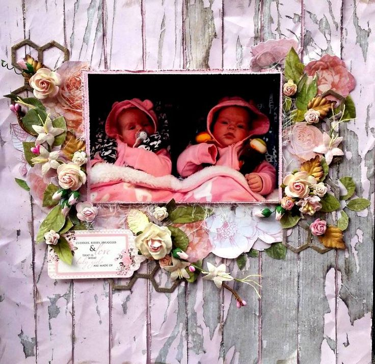 Sleeping Babies in Pram scrapbooking layout with kaisercraft papers and lots of flowers and chipboard
