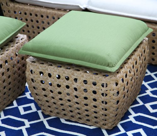 "AE-Outdoor-Bethany-Deep-Seating-Patio-Furniture-Outdoor-Wicker-Sunbrella  Why sit on cushions when you can sit on pillows? Comfy, casual and very inviting, this collection is a rare combination of traditional cane weaving and eclectic styling. The set includes a loveseat, two chairs, and three fun ""pods"" that double as ottomans or side tables. Neutral colors are mixed with a pop of navy, sage, and a cool chevron pattern on the throw pillows. Frames are rust proof aluminum and all fabrics are…"