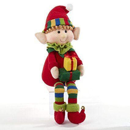 Kurt Adler Red & Green Elf with Gift Box Shelf Sitter