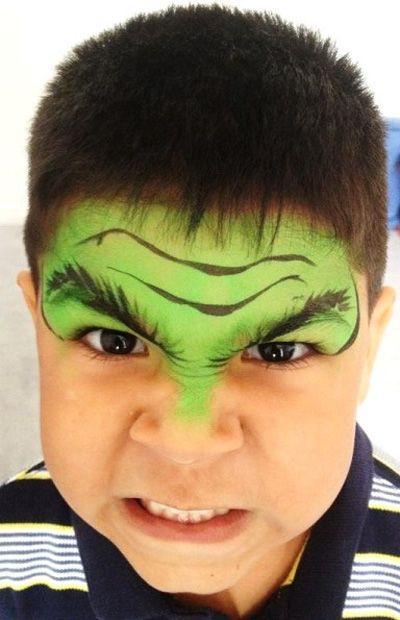 Trucco del viso per Carnevale per bambini da Hulk