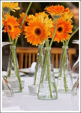 flowers and floating candle centerpieces orange and white | Easy Gerbera Daisy Centerpieces - Wedding Centerpieces