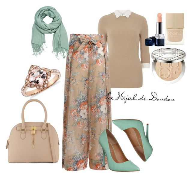 """Beige and Green Hijab Outfit"" by le-hijab-de-doudou ❤ liked on Polyvore featuring mel, Zimmermann, maurices, Christian Dior, ALDO, Office and Nails Inc."