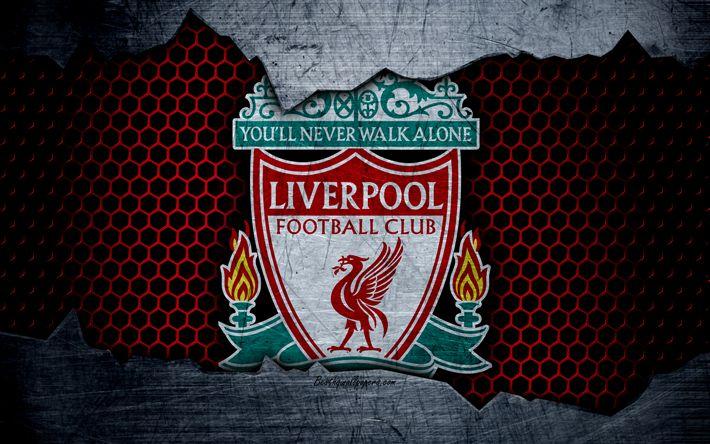 Télécharger fonds d'écran Liverpool FC, 4k, le football, Premier League, l'Angleterre, l'emblème, le logo de Liverpool, club de football, Liverpool, royaume-UNI, en métal, texture, grunge
