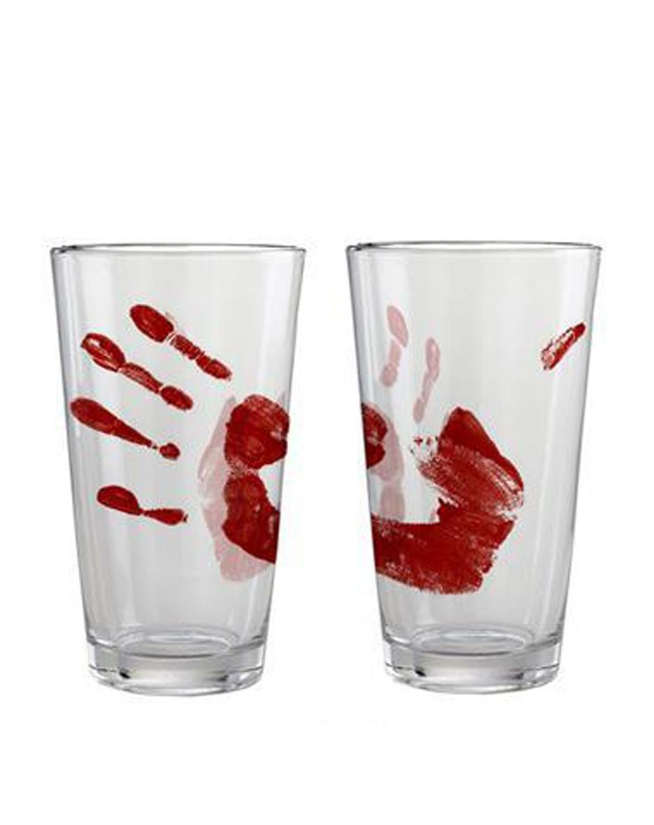 Bloody Hand Pint Glass at Spirit Halloween - Everyone will be wondering who drank from that glass last when you use the Bloody Hand Pint Glass. This clear glass features a large bloody hand print. Serve up a bloody good drink in these for $7.99