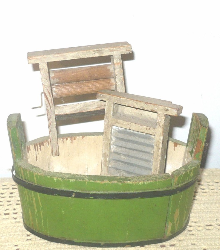 Antique miniature wash basin and wash boards ~ several views & full description useful as dollhouse inspiration | Source: Ruby Lane Antiques