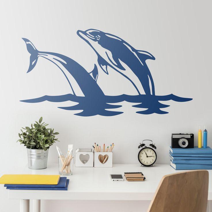 2 Delfines saltan en el mar - VINILOS DECORATIVOS #delfin #vinilodecorativo #decoracion #teleadhesivo