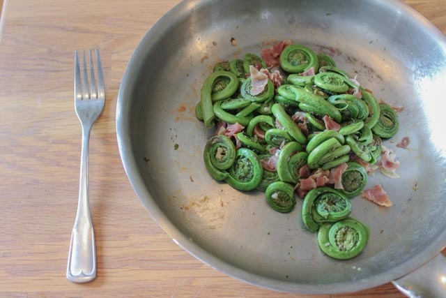 Fiddle-heads with Crispy Prosciutto and Garlic. A healthy, in-season side dish!