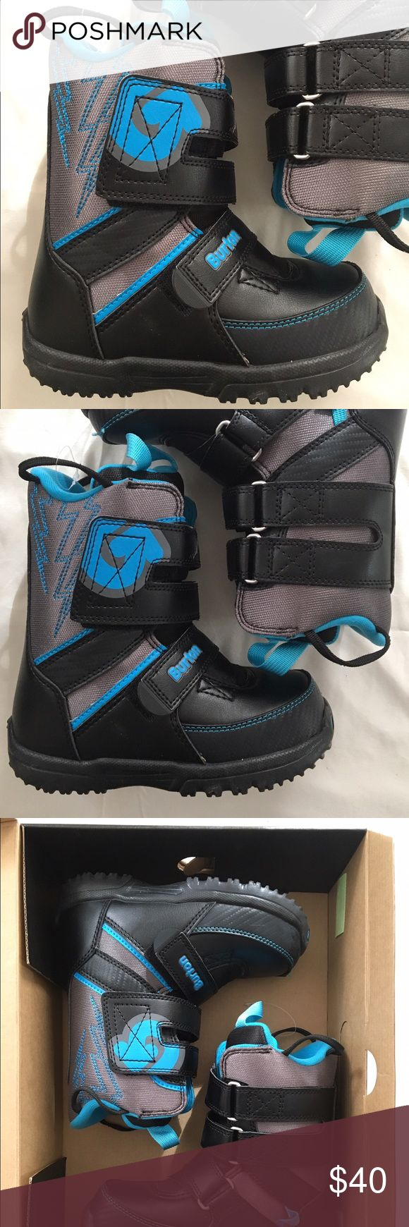 SALE: Burton Grom Snowboarding Boots Little kid's Burton Grom snowboarding boots.  Blue and black, worn only one time.  Size 1.  Non-smoking environment. Burton Shoes Rain & Snow Boots