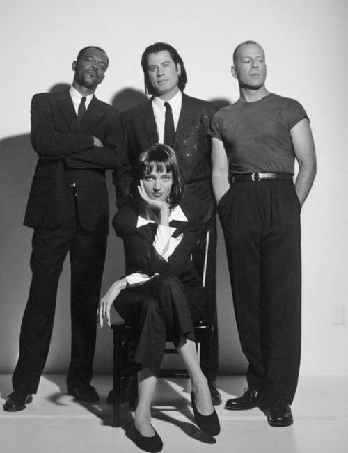 "Samuel L. Jackson, John Travolta, Bruce Willis & Uma Thurman. ""Pulp Fiction"" 1994, directed by Quentin Tarantino. #cinema #film #filmmaking"