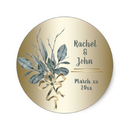 Gold Trim - Greenery - Wedding Sticker - wedding stickers unique design cool sticker gift idea marriage party