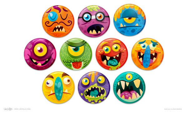 Beastly Badges by Joey Ellis, via Behance