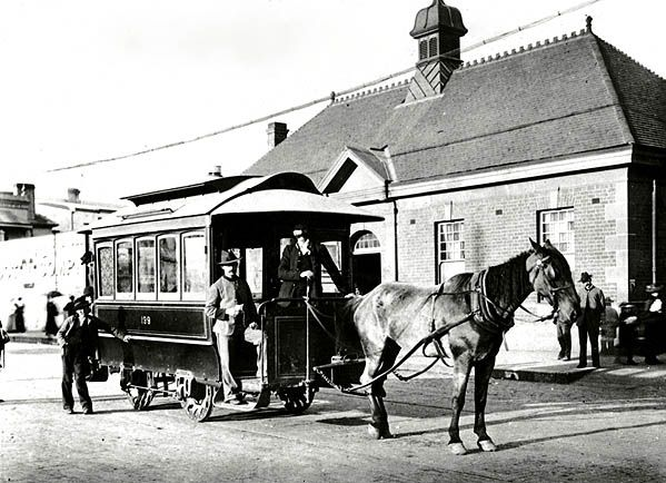 Horse drawn tram which ran between Newtown Station and St Peters 1 Jan 1894