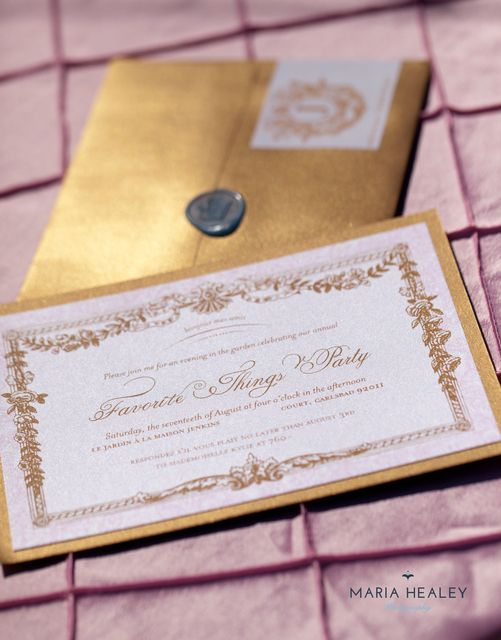 Marie Antoinette themed Favorite Things Party styled by @Made by a Princess Parties in Style  The royal invitation in a gold envelope with a wax seal