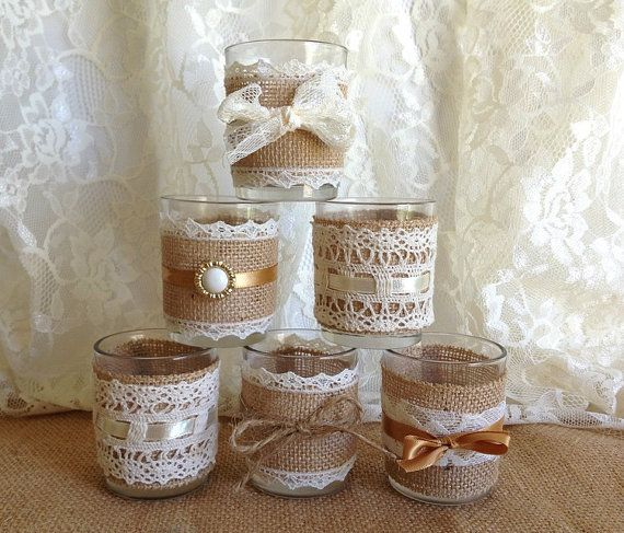 6 burlap and lace 10 hour tea candles wedding by PinKyJubb on Etsy, $28.00 katie what do you think of using these as the candles to go with the other center piece stuff  we could make our own