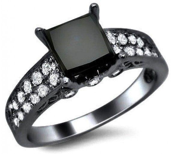 2.32ct Black Princess Cut Diamond Engagement Ring 14k Black Gold. $1,770.00, via Etsy.