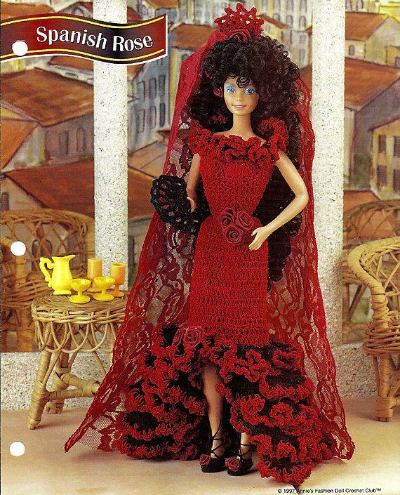 Spanish Rose Crochet Pattern Annies Fashion Doll Crochet