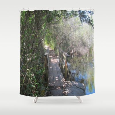 I used an oil filter on a photograph of a bridge we came across while hiking in the Everglades. What's on the other side? #bridges #shower #curtain
