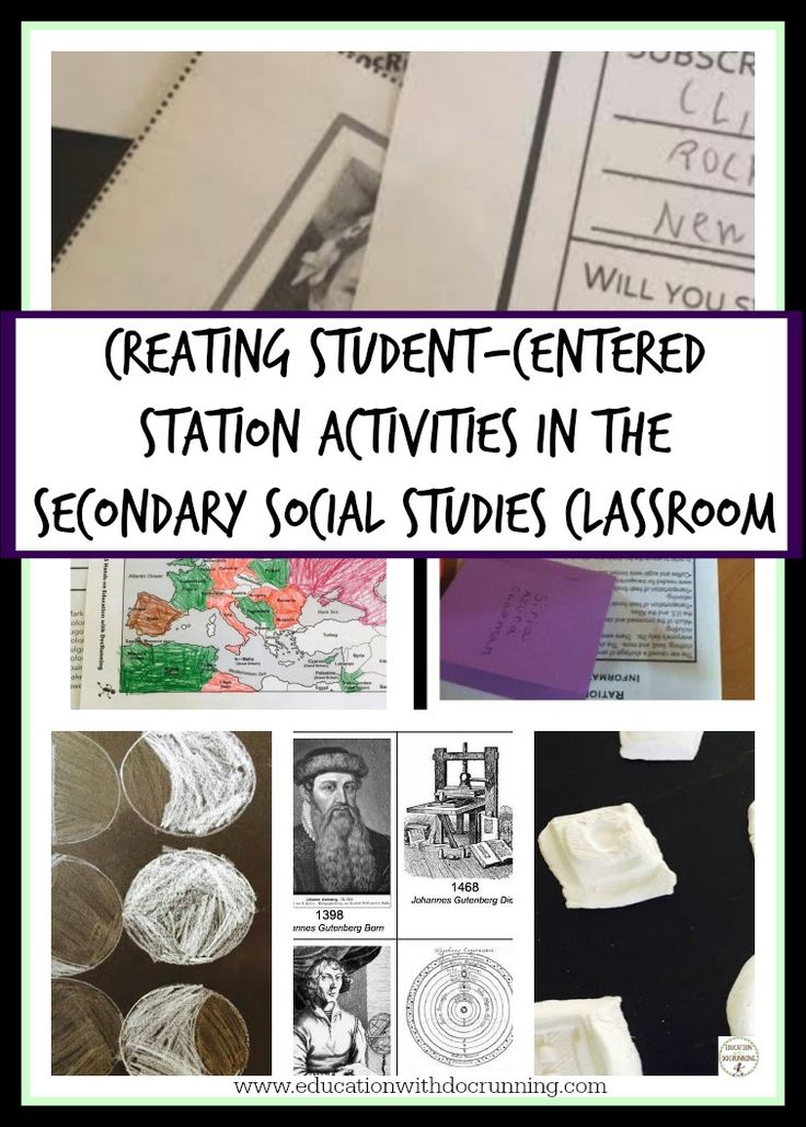 Blog post full of ideas for how to set up station activities that are student-centered in the social studies classroom.