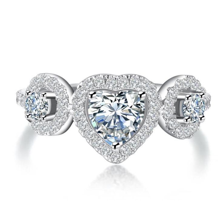 Женское кольцо покрытие серебро на подарок,  на годовщину, на обручение, в день святого Валентина в форме сердца CZ алмаз