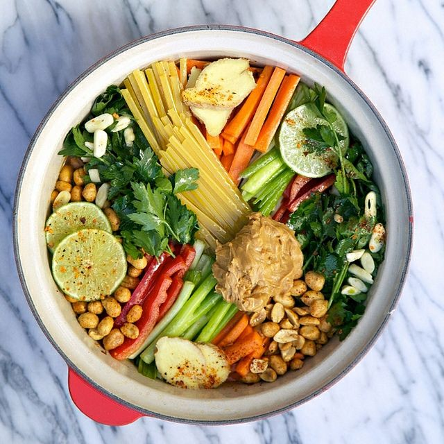 One Pot Wonder Thai Style Peanut Pasta Recipe. Requires a bit of chopping for prep work but cooks up in 15 minutes or so, makes sauce and all. No draining required.