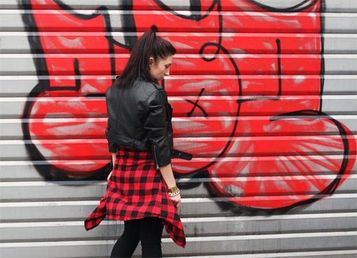 Outfit, Leather Jacket, Red, Black