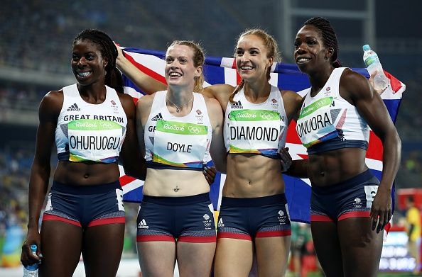 Team GB's women win a bronze medal in the 4 x 400m relay team