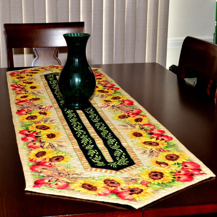 Table Runner   Quilted   Sunflower, Apples And Indian Corn Table Runner #2  By