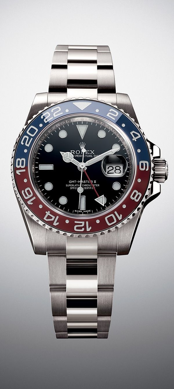 Rolex GMT-Master II in 18 ct white gold with a 24-hour rotatable red and blue Cerachrom bezel, a black dial with luminescent Chromalight display and an Oyster bracelet.
