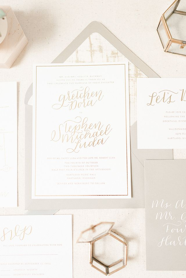 Romantic Gold Foil Wedding Invitations by Paper & Honey / Photo Credit: Andrea Pesce / Oh So Beautiful Paper