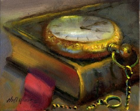 Antique Books Vintage Pocket Watch On Book 8 X10 Oil On