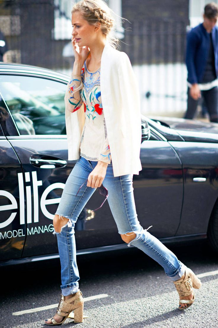 65 best Ripped Jeans images on Pinterest | My style Feminine fashion and Woman fashion