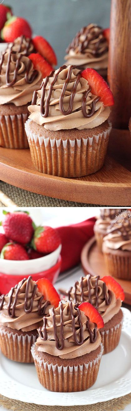 Nutella Cupcakes - moist Nutella cupcakes with Nutella frosting! | Posted By: DebbieNet.com |