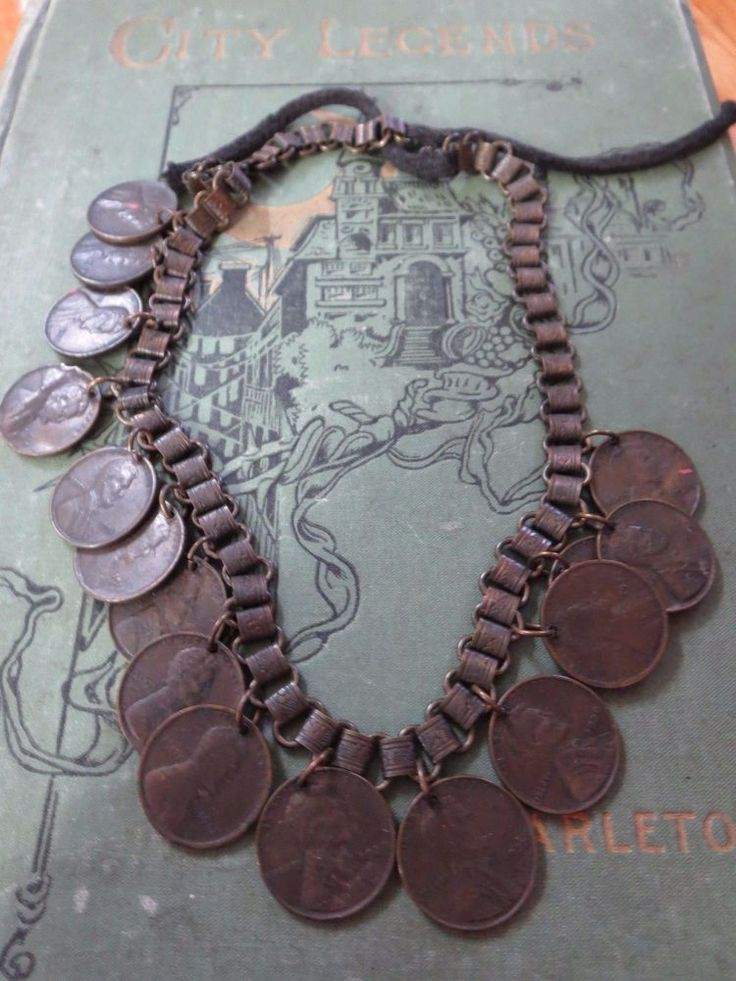 """Large 1930's Antique Handmade Wheat Penny Necklace 16 1/2"""""""