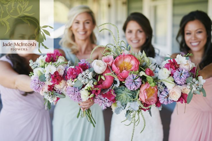 Lesley and her beautiful bridesmaids showing off the most stunning winter bouquets with PEONIES!!!!! hair and makeup by Chic Artistry www.jademcintoshflowers.com.au