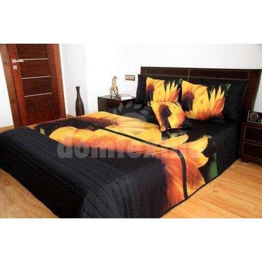 Žlto čierny prehoz na posteľ s 3D motívom slnečníc