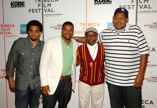 """Spike is reunited with his 'Miracle at St. Anna' cast: Michael Ealy, Laz Alonso, Spike Lee, and Omar Benson Miller attends a screening of """"Kobe Doin' Work""""."""