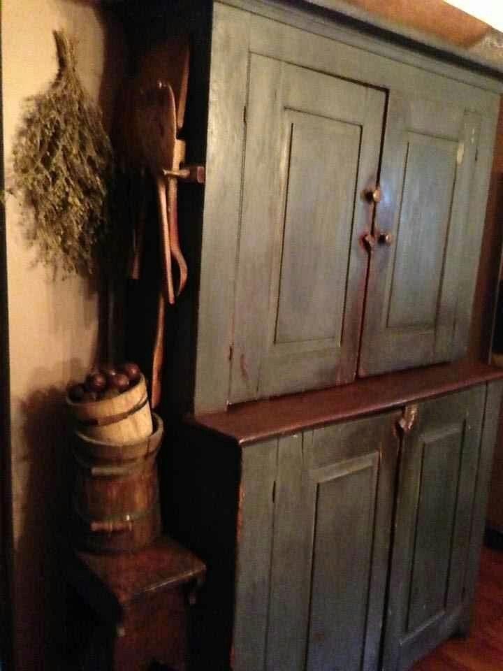 Photo by Judy Coffey: :Wonderful Step back blue cupboard ?wood bucket & etc - 710 Best Primitive Blues Images On Pinterest Prim Decor