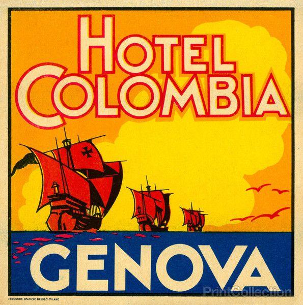 Luggage label for the Hotel Columbia, Genova, Italy. Original size 5x5 inches. Industrie Grafiche Besozzi-Milano.