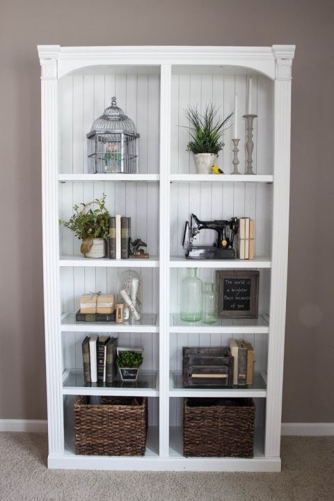 15 must see bookcase makeover pins bookcase redo - How to decorate shelves in living room ...