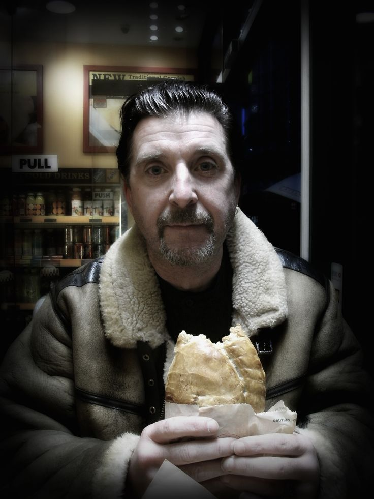 Pat eating a pastie in Bayswater