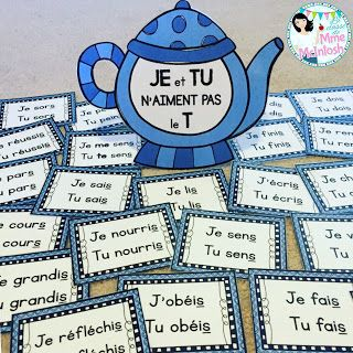 """Je et tu n'aiment pas le T"": teapot – a fun visual to help your French students conjugate verbs"