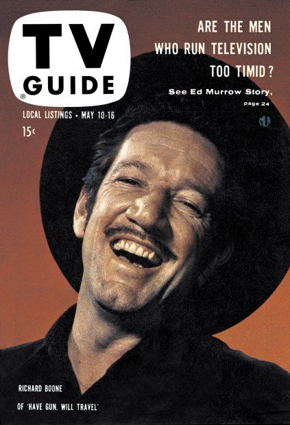 """TV Guide, May 10, 1958 - Richard Boone of """"Have Gun Will Travel"""""""