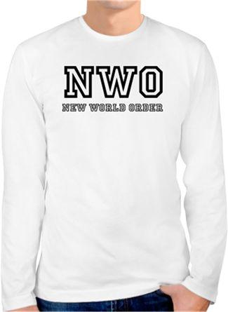 New World Order Kendin Tasarla - Erkek Bisiklet Yaka Tişört Uzun Kollu