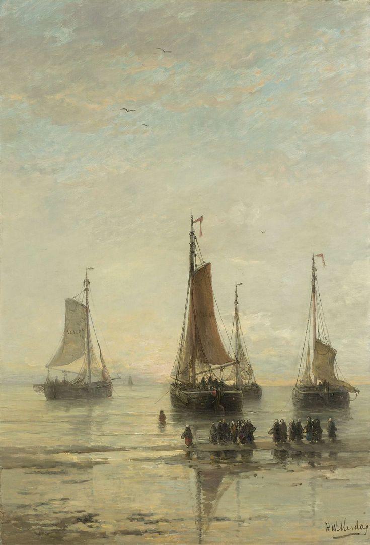 Scheveningse bommen voor anker, Hendrik Willem Mesdag, 1860 - 1889