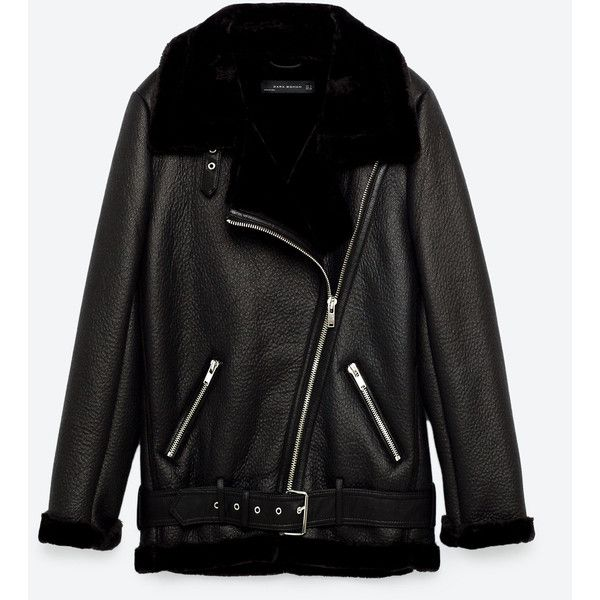FAUX FUR COLLAR BIKER JACKET - NEW IN-WOMAN | ZARA United States (€150) ❤ liked on Polyvore featuring outerwear, jackets, faux fur collar jacket, biker jackets, motorcycle jacket, rider jacket and moto jackets