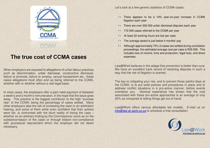 The true cost of the CCMA  https://www.facebook.com/lawatwork?fref=ts