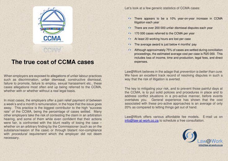 The true cost of the CCMA  https://www.facebook.com/lawatwork?fref=ts